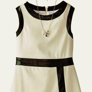 Girls Knit Black & Ivory Faux Leather Trim Dress